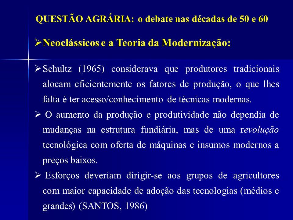 QUESTÃO AGRÁRIA: o debate nas décadas de 50 e 60 Neoclássicos e a Teoria da Modernização: Schultz (1965) considerava que produtores tradicionais aloca