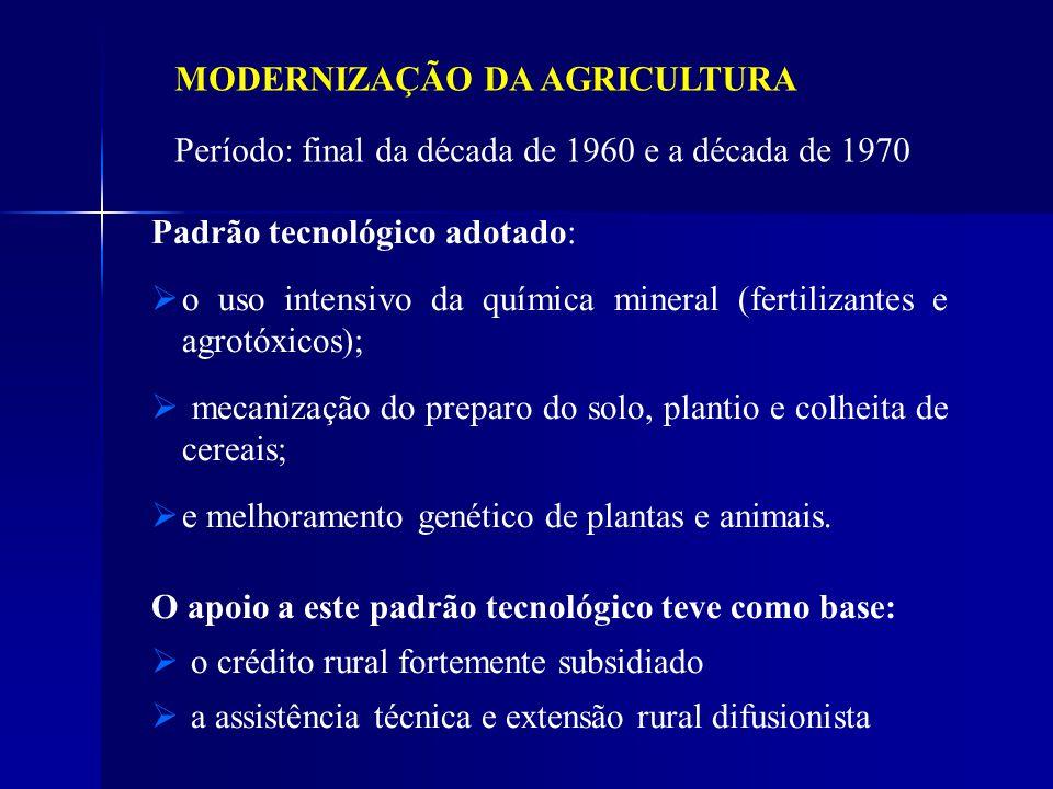 Padrão tecnológico adotado: o uso intensivo da química mineral (fertilizantes e agrotóxicos); mecanização do preparo do solo, plantio e colheita de ce