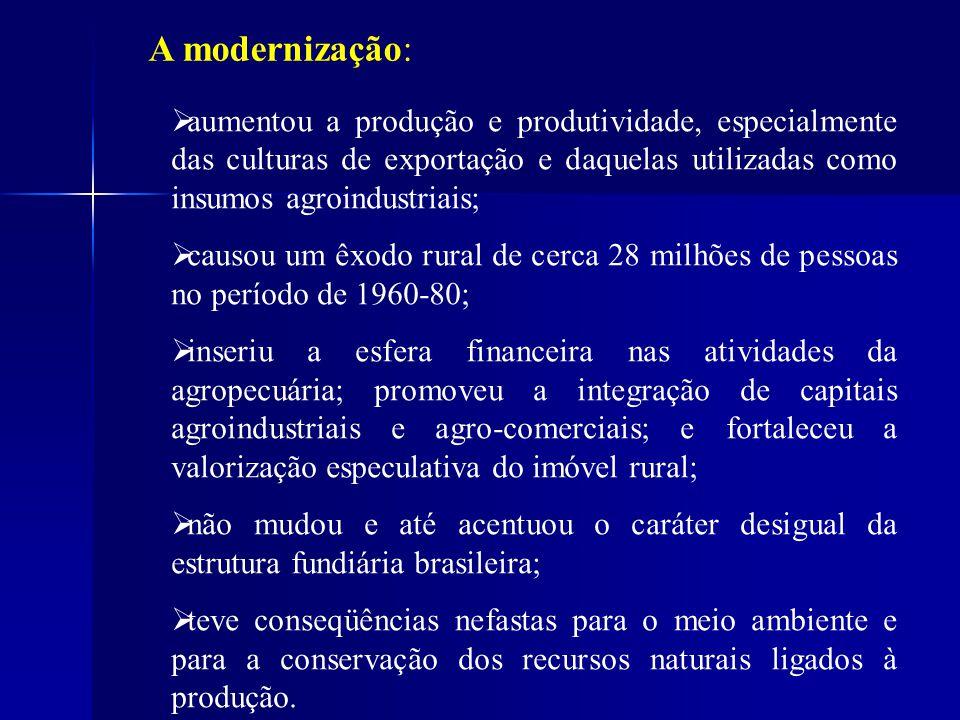 A modernização: aumentou a produção e produtividade, especialmente das culturas de exportação e daquelas utilizadas como insumos agroindustriais; caus