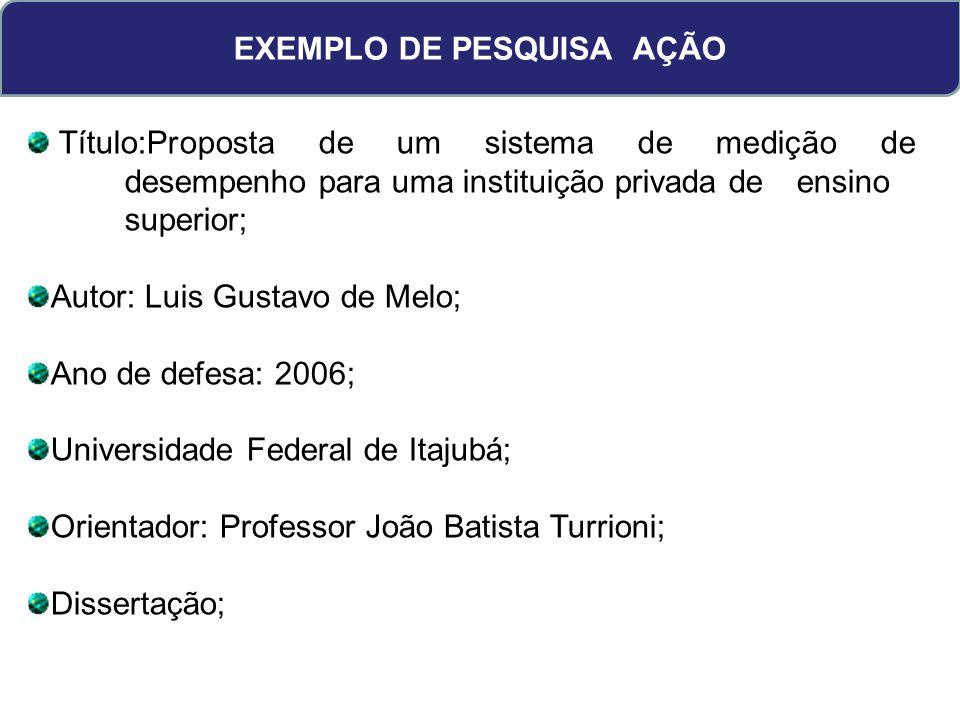 EXEMPLO DE PESQUISA AÇÃO Título:Proposta de um sistema de medição de desempenho para uma instituição privada de ensino superior; Autor: Luis Gustavo d