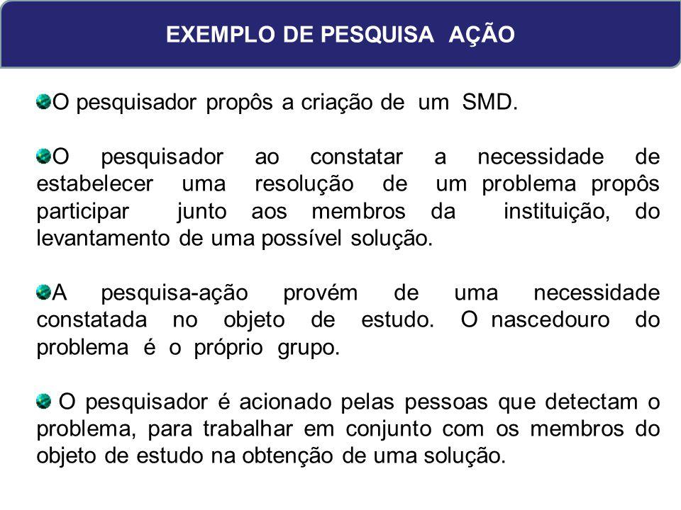 EXEMPLO DE PESQUISA AÇÃO O pesquisador propôs a criação de um SMD.