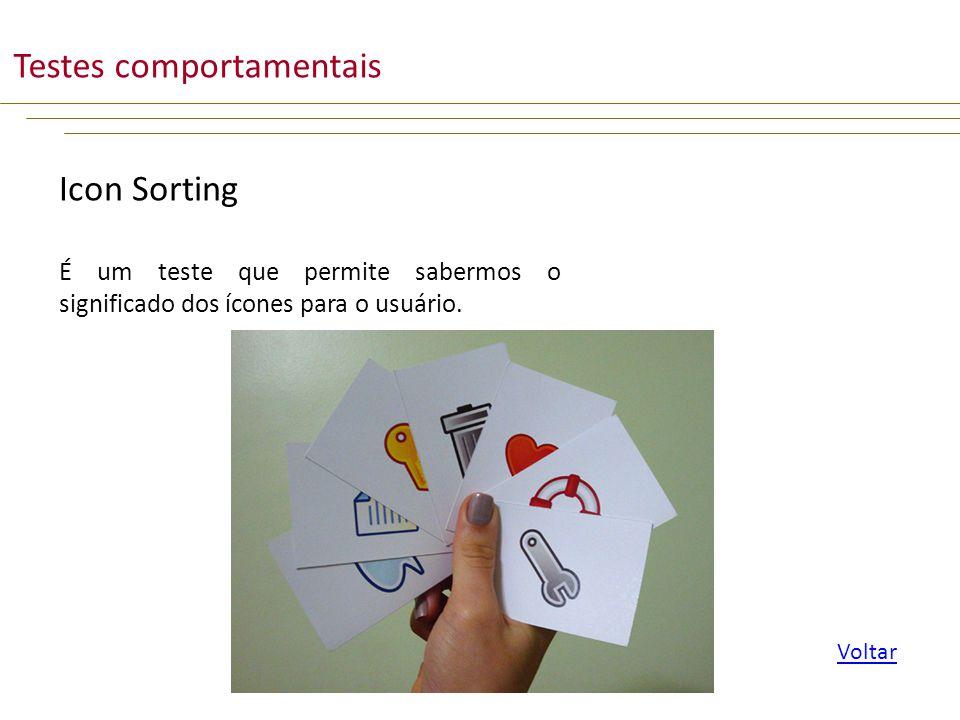 Icon Sorting É um teste que permite sabermos o significado dos ícones para o usuário.