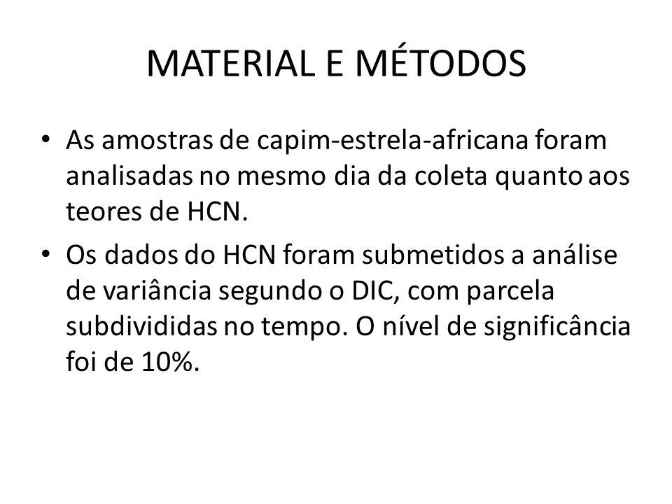 MATERIAL E MÉTODOS As amostras de capim-estrela-africana foram analisadas no mesmo dia da coleta quanto aos teores de HCN. Os dados do HCN foram subme