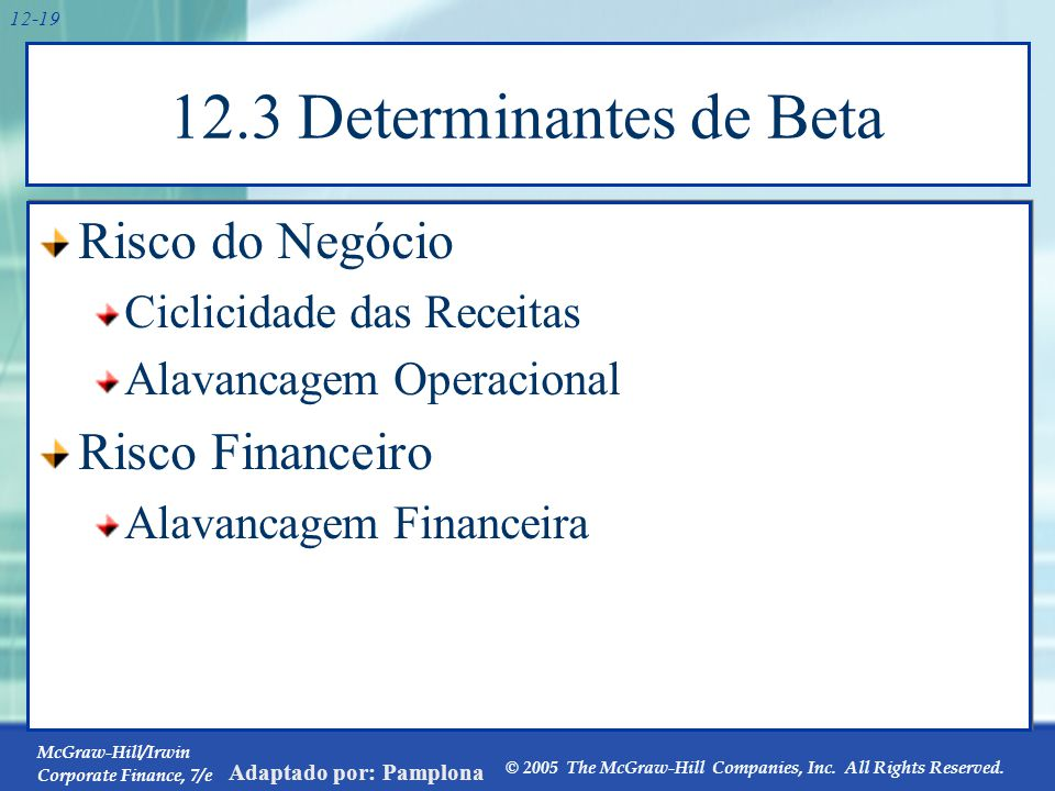 McGraw-Hill/Irwin Corporate Finance, 7/e © 2005 The McGraw-Hill Companies, Inc. All Rights Reserved. Adaptado por: Pamplona 12-19 12.3 Determinantes d