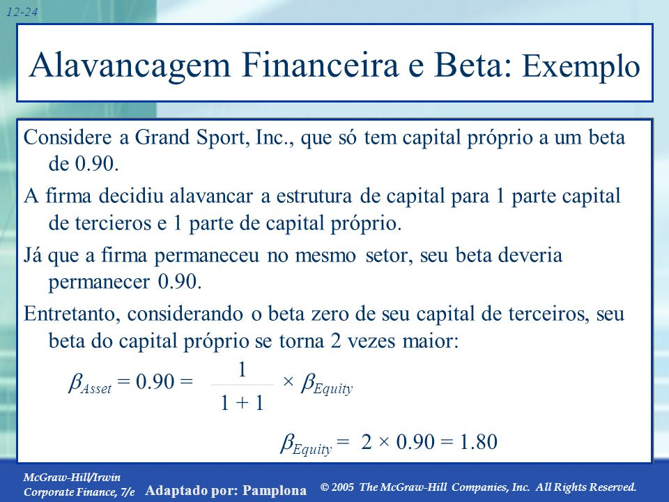 McGraw-Hill/Irwin Corporate Finance, 7/e © 2005 The McGraw-Hill Companies, Inc. All Rights Reserved. Adaptado por: Pamplona 12-24 Alavancagem Financei