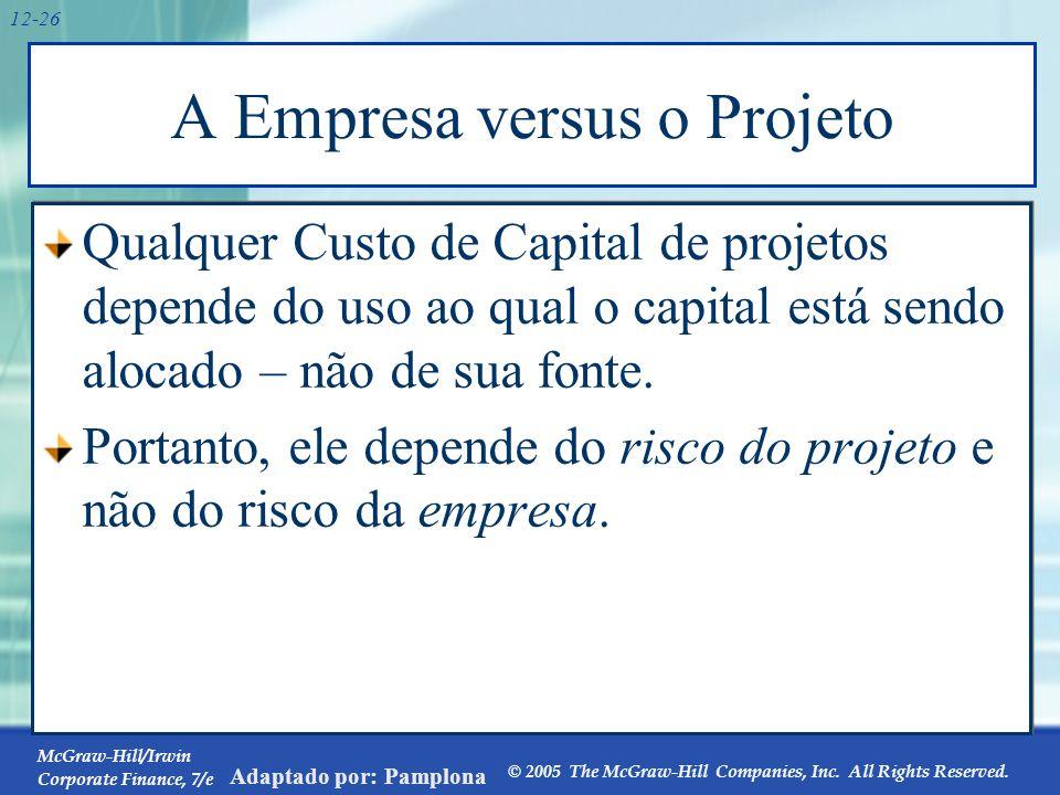 McGraw-Hill/Irwin Corporate Finance, 7/e © 2005 The McGraw-Hill Companies, Inc. All Rights Reserved. Adaptado por: Pamplona 12-26 A Empresa versus o P