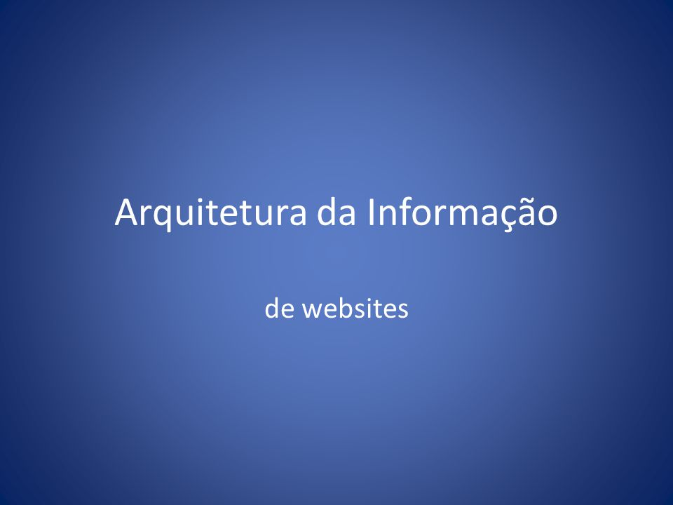 Arquitetura da Informação de websites