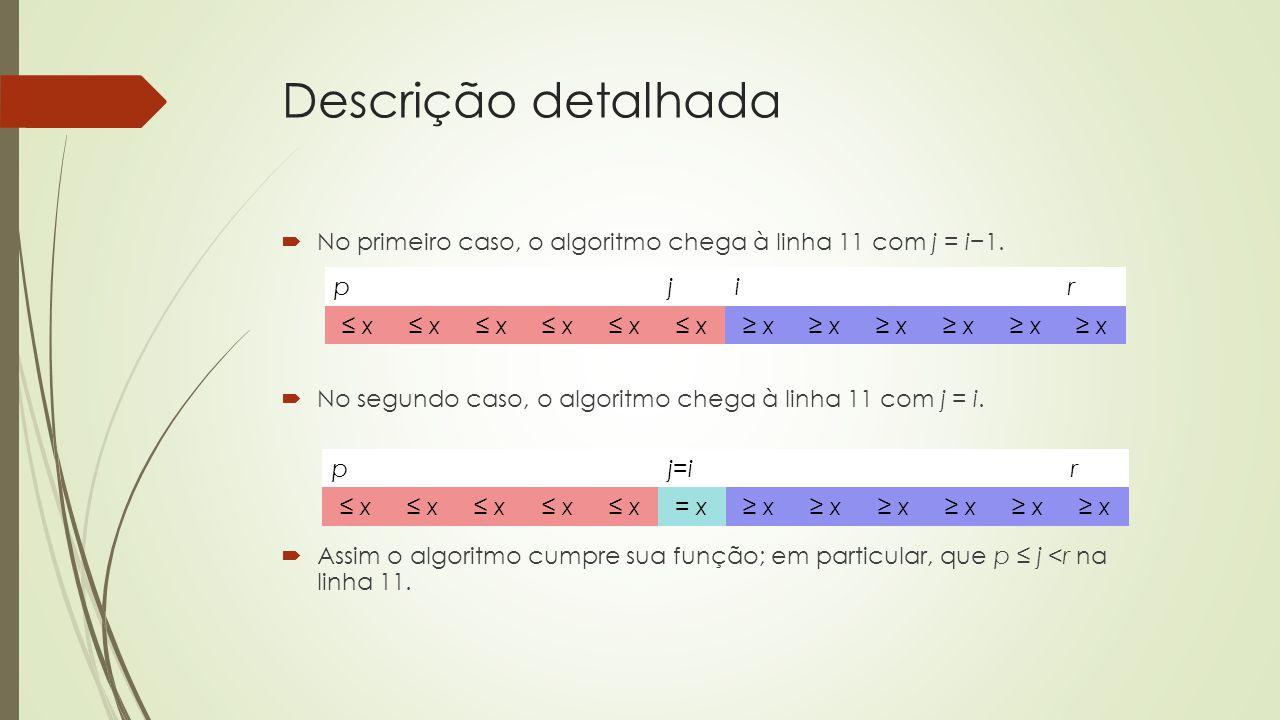 Descrição detalhada No primeiro caso, o algoritmo chega à linha 11 com j = i1. No segundo caso, o algoritmo chega à linha 11 com j = i. Assim o algori