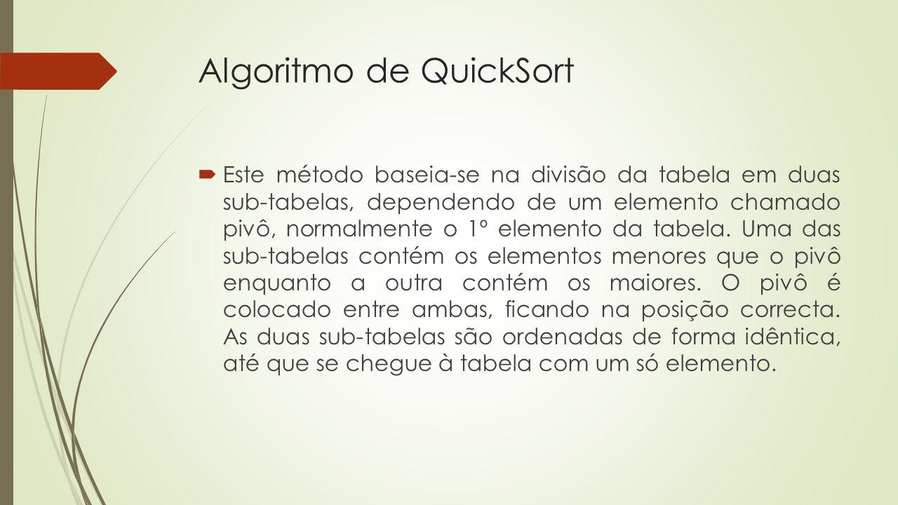 Algoritmo de QuickSort Este método baseia-se na divisão da tabela em duas sub-tabelas, dependendo de um elemento chamado pivô, normalmente o 1º elemen