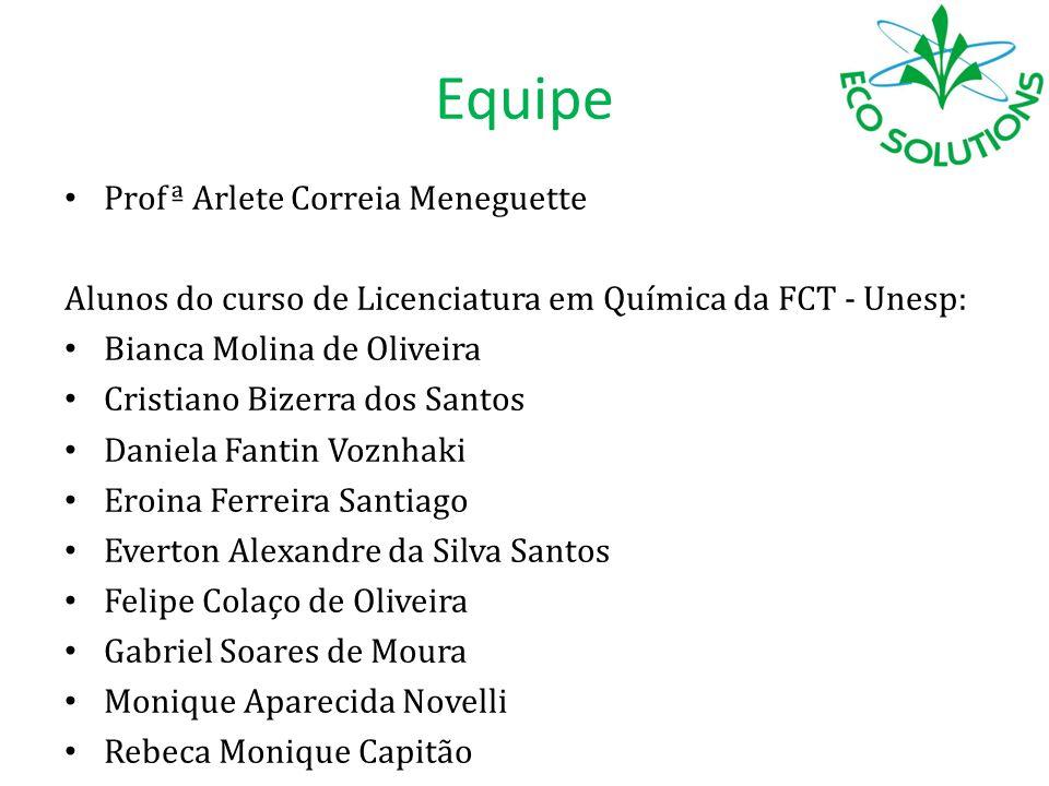 Equipe Profª Arlete Correia Meneguette Alunos do curso de Licenciatura em Química da FCT - Unesp: Bianca Molina de Oliveira Cristiano Bizerra dos Sant