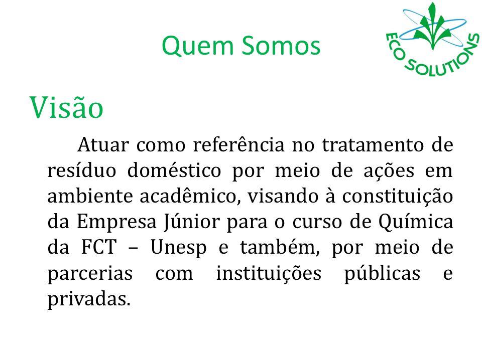 Visão Atuar como referência no tratamento de resíduo doméstico por meio de ações em ambiente acadêmico, visando à constituição da Empresa Júnior para