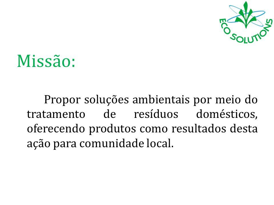 Missão: Propor soluções ambientais por meio do tratamento de resíduos domésticos, oferecendo produtos como resultados desta ação para comunidade local