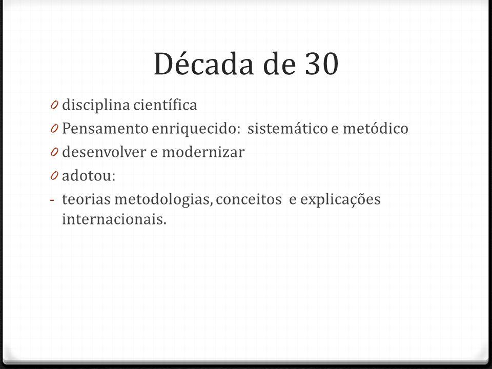 Década de 30 0 disciplina científica 0 Pensamento enriquecido: sistemático e metódico 0 desenvolver e modernizar 0 adotou: - teorias metodologias, con