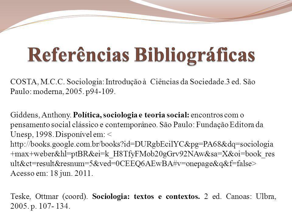 COSTA, M.C.C.Sociologia: Introdução à Ciências da Sociedade.3 ed.