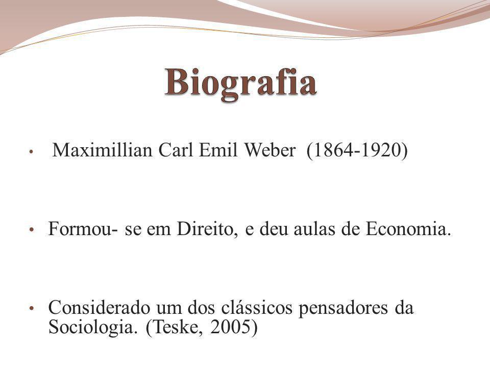 Maximillian Carl Emil Weber (1864-1920) Formou- se em Direito, e deu aulas de Economia.