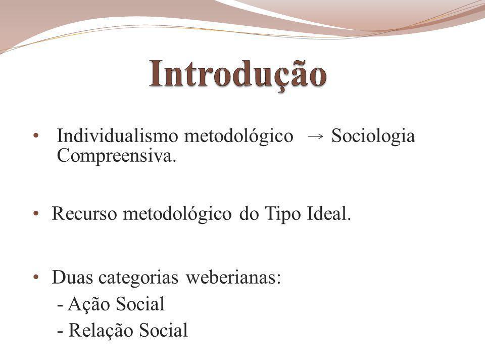 Individualismo metodológico Sociologia Compreensiva.