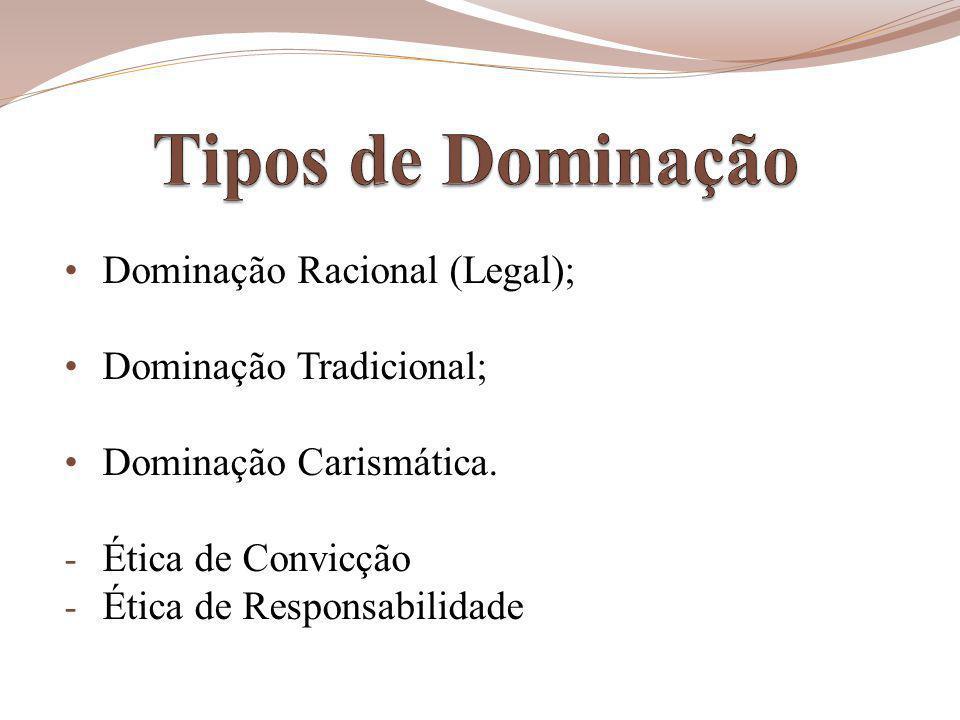 Dominação Racional (Legal); Dominação Tradicional; Dominação Carismática.