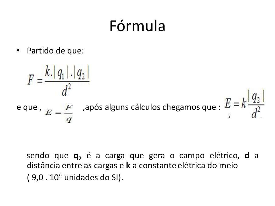 Fórmula Partido de que: e que,,após alguns cálculos chegamos que : sendo que q 2 é a carga que gera o campo elétrico, d a distância entre as cargas e k a constante elétrica do meio ( 9,0.