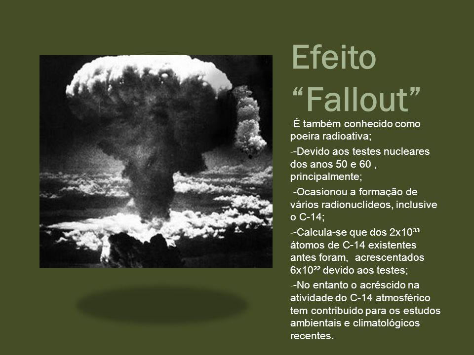 Efeito Fallout - É também conhecido como poeira radioativa; - -Devido aos testes nucleares dos anos 50 e 60, principalmente; - -Ocasionou a formação d