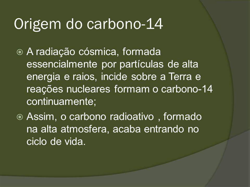 Origem do carbono-14 A radiação cósmica, formada essencialmente por partículas de alta energia e raios, incide sobre a Terra e reações nucleares forma