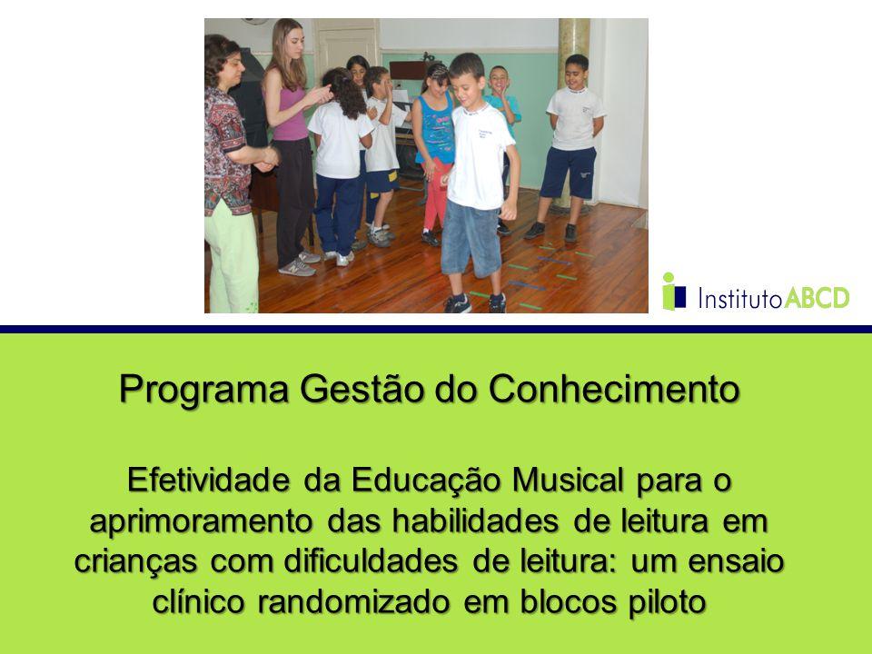 Programa Gestão do Conhecimento Efetividade da Educação Musical para o aprimoramento das habilidades de leitura em crianças com dificuldades de leitur