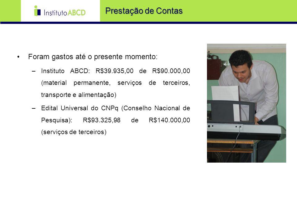 Prestação de Contas Foram gastos até o presente momento: –Instituto ABCD: R$39.935,00 de R$90.000,00 (material permanente, serviços de terceiros, tran