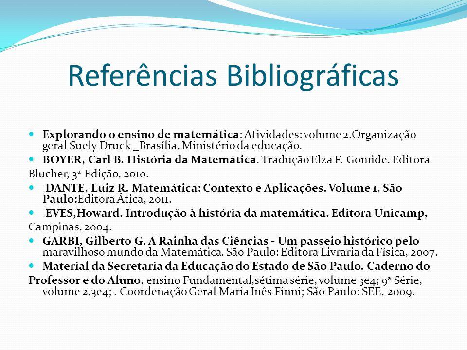 Referências Bibliográficas Explorando o ensino de matemática: Atividades: volume 2.Organização geral Suely Druck _Brasília, Ministério da educação. BO
