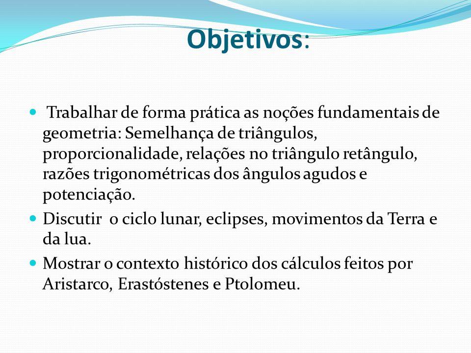 Objetivos: Trabalhar de forma prática as noções fundamentais de geometria: Semelhança de triângulos, proporcionalidade, relações no triângulo retângul