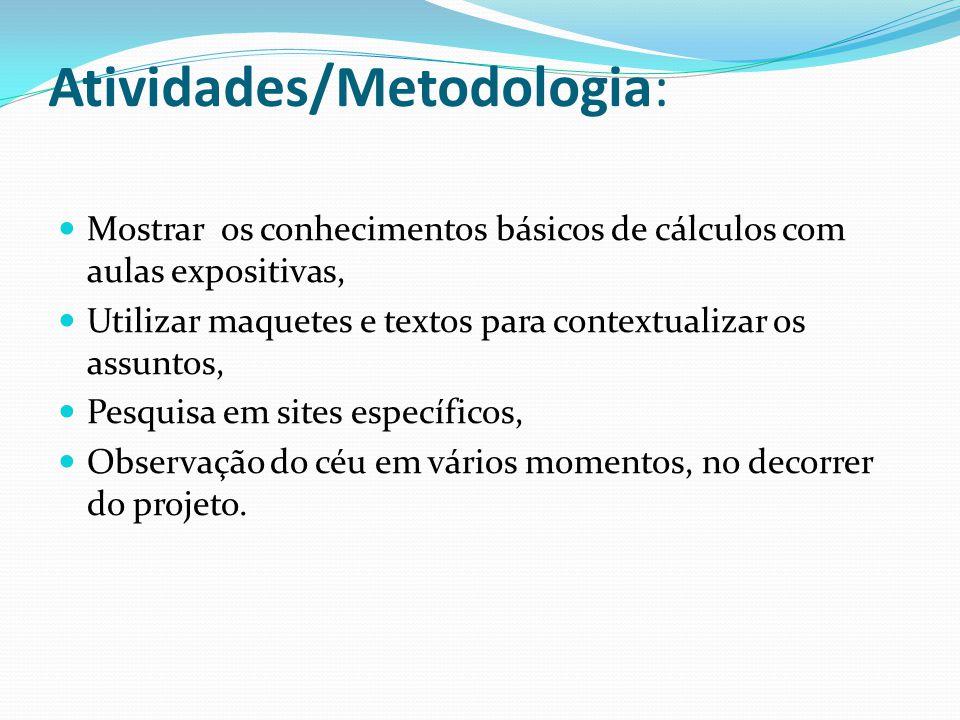 Atividades/Metodologia: Mostrar os conhecimentos básicos de cálculos com aulas expositivas, Utilizar maquetes e textos para contextualizar os assuntos
