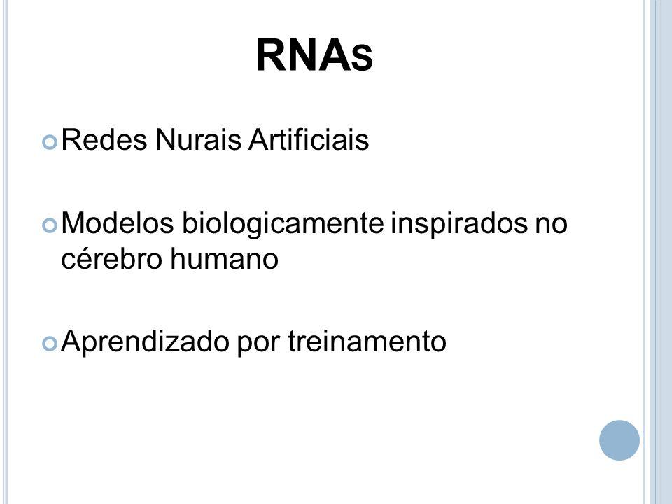 RNA S Redes Nurais Artificiais Modelos biologicamente inspirados no cérebro humano Aprendizado por treinamento