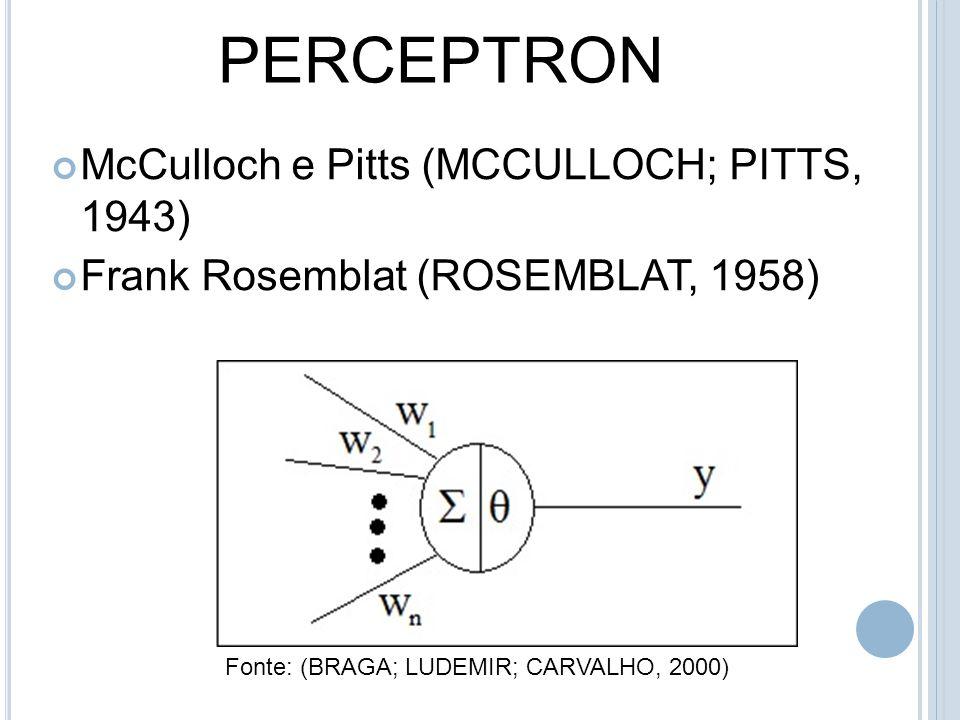PERCEPTRON McCulloch e Pitts (MCCULLOCH; PITTS, 1943) Frank Rosemblat (ROSEMBLAT, 1958) Fonte: (BRAGA; LUDEMIR; CARVALHO, 2000)
