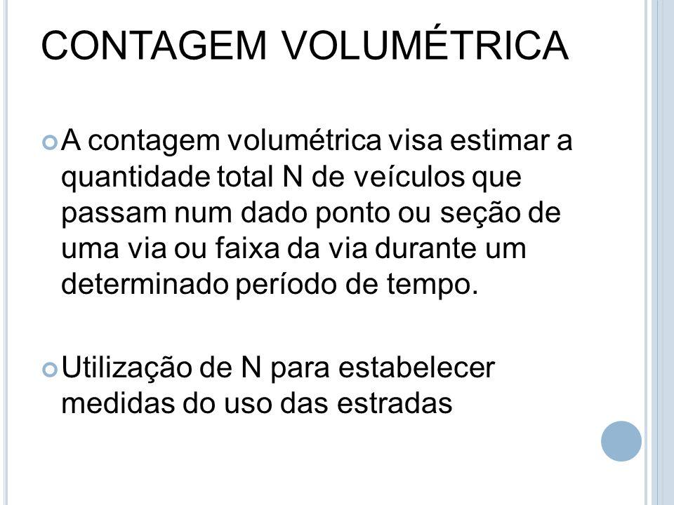 CONTAGEM VOLUMÉTRICA A contagem volumétrica visa estimar a quantidade total N de veículos que passam num dado ponto ou seção de uma via ou faixa da vi