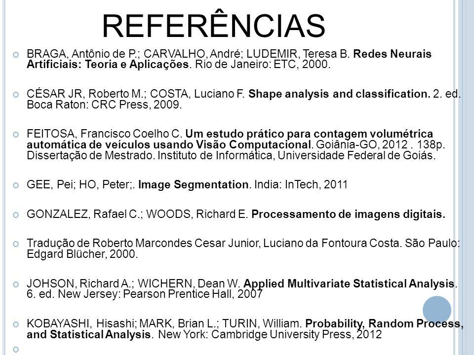 REFERÊNCIAS BRAGA, Antônio de P.; CARVALHO, André; LUDEMIR, Teresa B. Redes Neurais Artificiais: Teoria e Aplicações. Rio de Janeiro: ETC, 2000. CÉSAR