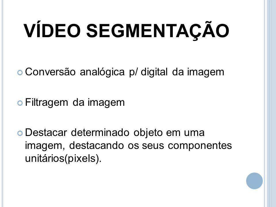VÍDEO SEGMENTAÇÃO Conversão analógica p/ digital da imagem Filtragem da imagem Destacar determinado objeto em uma imagem, destacando os seus component