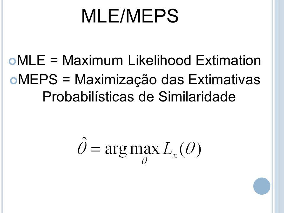 MLE/MEPS MLE = Maximum Likelihood Extimation MEPS = Maximização das Extimativas Probabilísticas de Similaridade