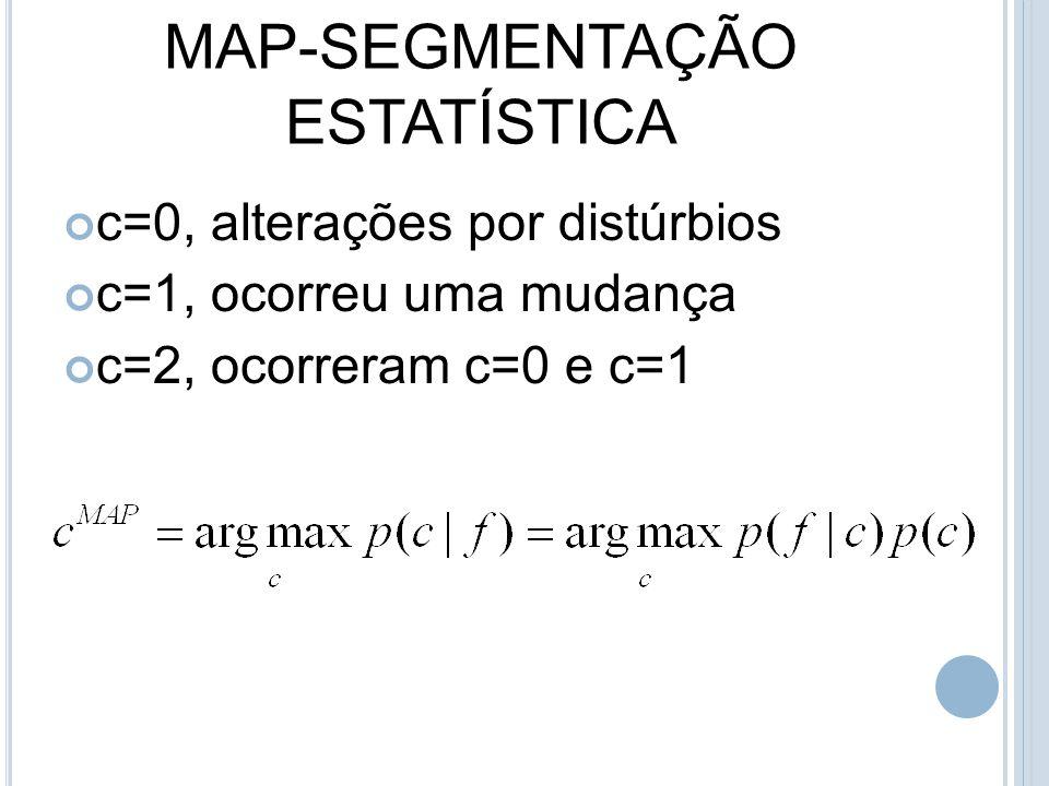 MAP-SEGMENTAÇÃO ESTATÍSTICA c=0, alterações por distúrbios c=1, ocorreu uma mudança c=2, ocorreram c=0 e c=1
