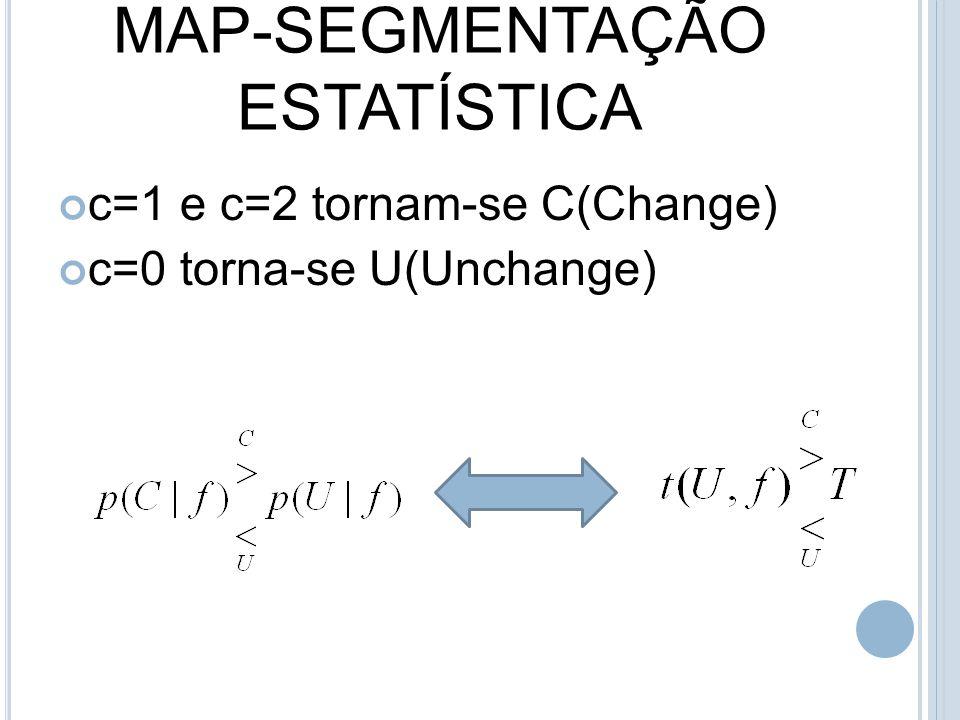 MAP-SEGMENTAÇÃO ESTATÍSTICA c=1 e c=2 tornam-se C(Change) c=0 torna-se U(Unchange)