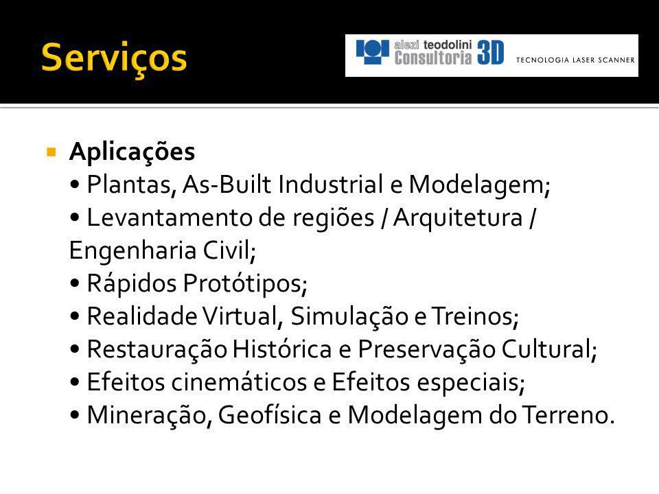 Aplicações Plantas, As-Built Industrial e Modelagem; Levantamento de regiões / Arquitetura / Engenharia Civil; Rápidos Protótipos; Realidade Virtual,