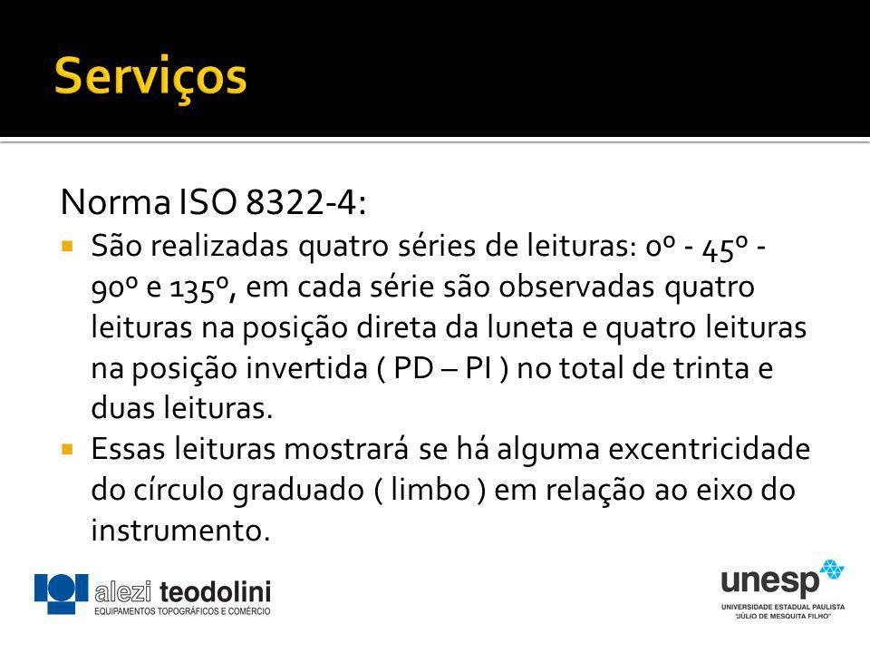 Norma ISO 8322-4: São realizadas quatro séries de leituras: 0º - 45º - 90º e 135º, em cada série são observadas quatro leituras na posição direta da l