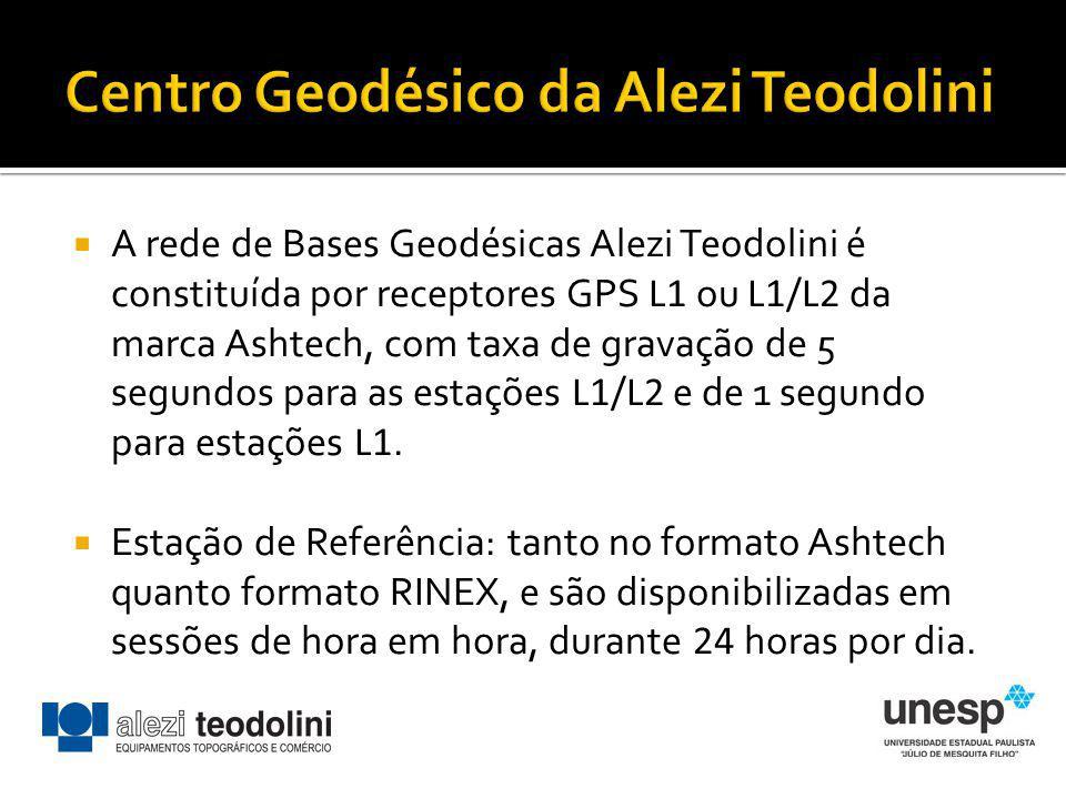 A rede de Bases Geodésicas Alezi Teodolini é constituída por receptores GPS L1 ou L1/L2 da marca Ashtech, com taxa de gravação de 5 segundos para as e