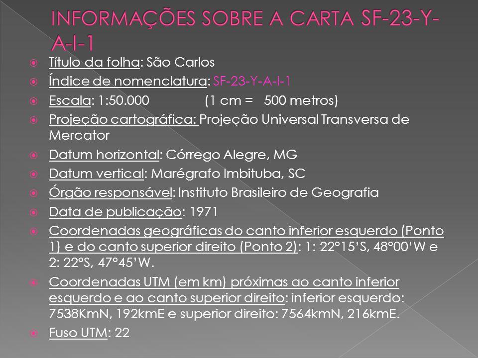 Título da folha: São Carlos Índice de nomenclatura: SF-23-Y-A-I-1 Escala: 1:50.000 (1 cm = 500 metros) Projeção cartográfica: Projeção Universal Trans