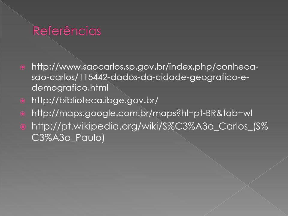 http://www.saocarlos.sp.gov.br/index.php/conheca- sao-carlos/115442-dados-da-cidade-geografico-e- demografico.html http://biblioteca.ibge.gov.br/ http