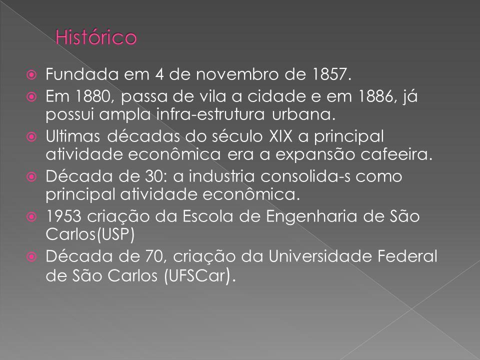 Fundada em 4 de novembro de 1857. Em 1880, passa de vila a cidade e em 1886, já possui ampla infra-estrutura urbana. Ultimas décadas do século XIX a p