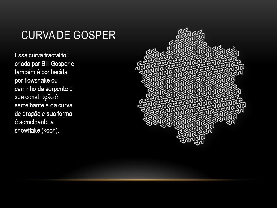 CURVA DE GOSPER Essa curva fractal foi criada por Bill Gosper e também é conhecida por flowsnake ou caminho da serpente e sua construção é semelhante