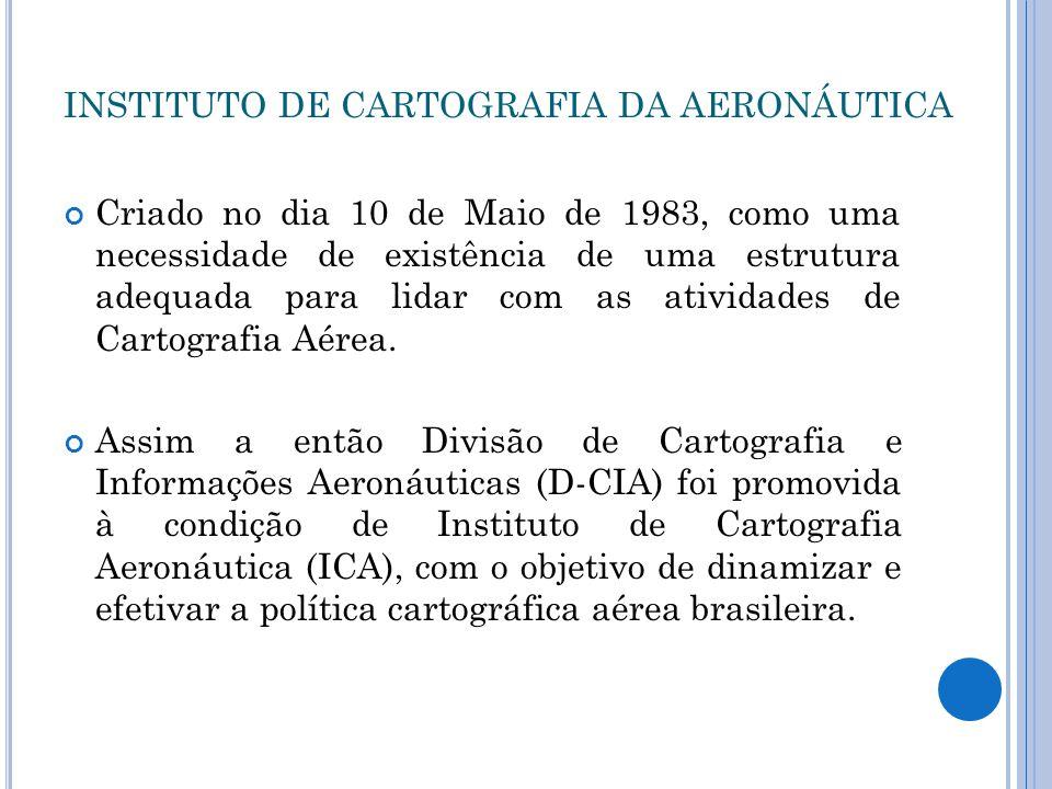 INSTITUTO DE CARTOGRAFIA DA AERONÁUTICA Criado no dia 10 de Maio de 1983, como uma necessidade de existência de uma estrutura adequada para lidar com