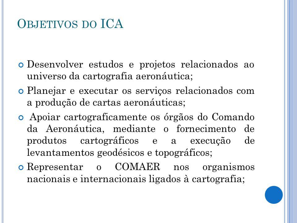 O BJETIVOS DO ICA Desenvolver estudos e projetos relacionados ao universo da cartografia aeronáutica; Planejar e executar os serviços relacionados com
