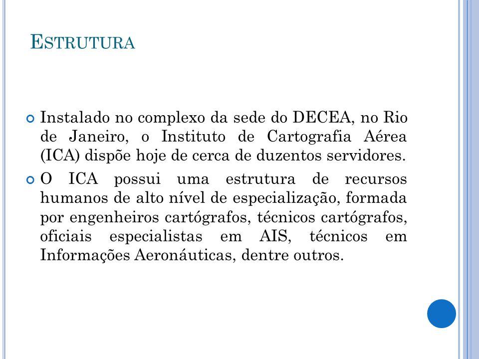 E STRUTURA Instalado no complexo da sede do DECEA, no Rio de Janeiro, o Instituto de Cartografia Aérea (ICA) dispõe hoje de cerca de duzentos servidor