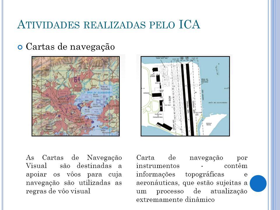 A TIVIDADES REALIZADAS PELO ICA Cartas de navegação As Cartas de Navegação Visual são destinadas a apoiar os vôos para cuja navegação são utilizadas a