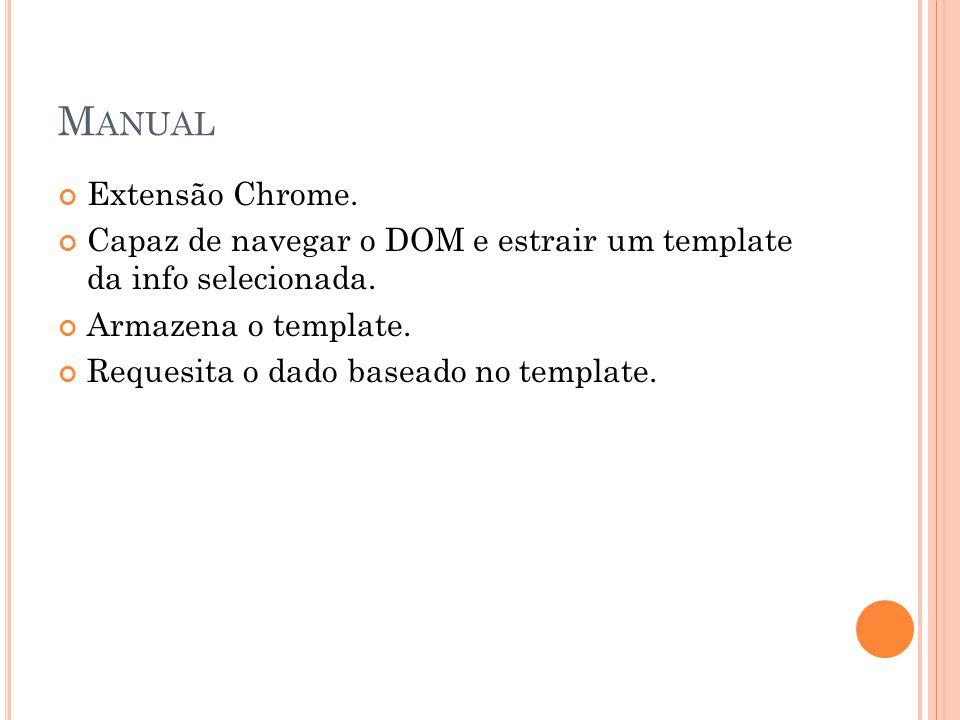 M ANUAL Extensão Chrome. Capaz de navegar o DOM e estrair um template da info selecionada. Armazena o template. Requesita o dado baseado no template.