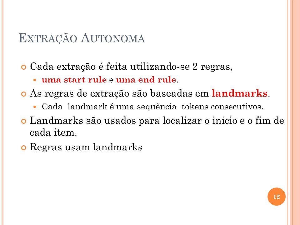 12 E XTRAÇÃO A UTONOMA Cada extração é feita utilizando-se 2 regras, uma start rule e uma end rule. As regras de extração são baseadas em landmarks. C